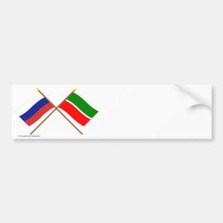 Crossed flags of Russia and Republic of Tatarstan Bumper Sticker
