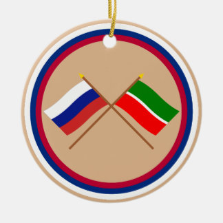 Crossed flags of Russia and Republic of Tatarstan Christmas Ornament