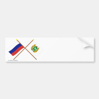 Crossed flags of Russia and Tomsk Oblast Bumper Sticker