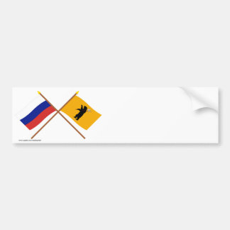 Crossed flags of Russia and Yaroslavl Oblast Bumper Sticker