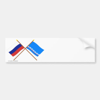Crossed flags of Russia & Yamalo-Nenets Auto Okrug Bumper Stickers
