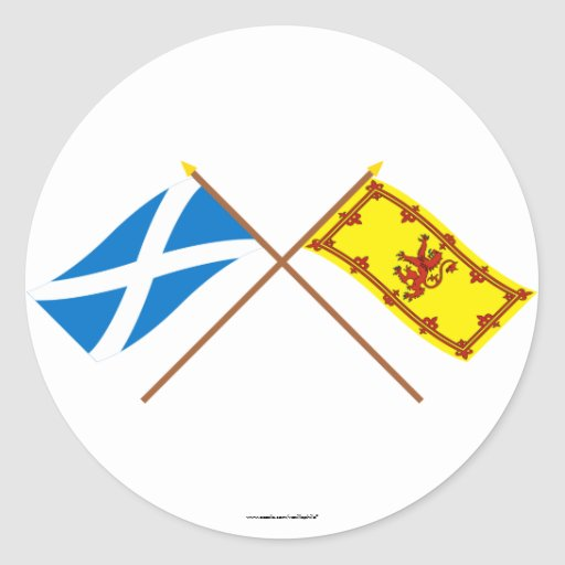 Crossed Flags of Scotland Round Stickers