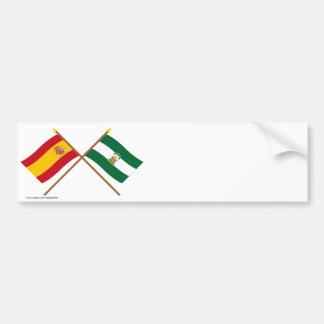 Crossed flags of Spain and Andalucía Bumper Sticker