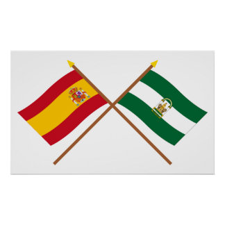 Crossed flags of Spain and Andalucía Print