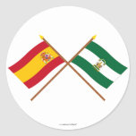 Crossed flags of Spain and Andalucía Round Stickers