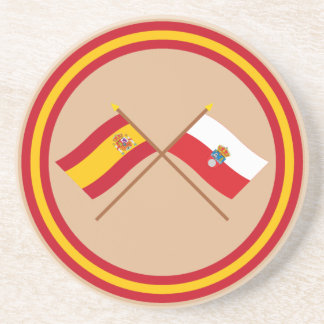 Crossed flags of Spain and Cantabria Beverage Coasters