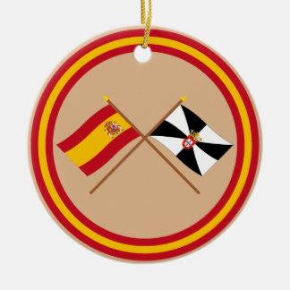 Crossed flags of Spain and Ceuta Round Ceramic Decoration