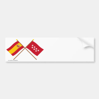 Crossed flags of Spain and Madrid Bumper Sticker