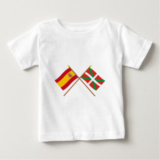 Crossed flags of Spain and País Vasco (Euskadi) Baby T-Shirt