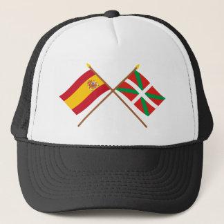 Crossed flags of Spain and País Vasco (Euskadi) Trucker Hat