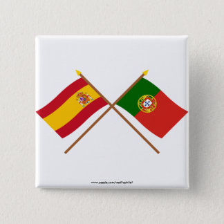 Crossed Flags of Spain and Portugal 15 Cm Square Badge