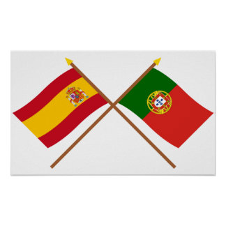Crossed Flags of Spain and Portugal Print