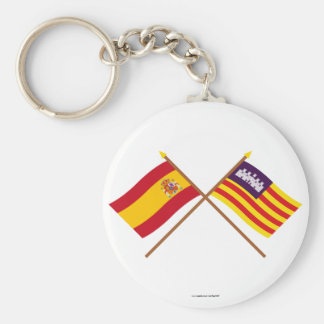 Crossed flags of Spain and the Balearic Islands Keychain