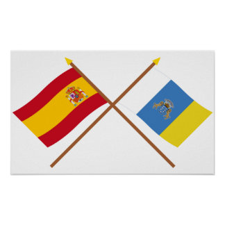 Crossed Flags of Spain and the Canary Islands Poster