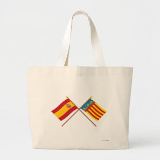 Crossed flags of Spain and Valencia Large Tote Bag
