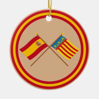 Crossed flags of Spain and Valencia Round Ceramic Decoration