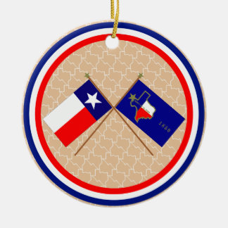 Crossed Flags of Texas and El Paso County Round Ceramic Decoration