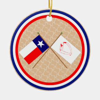 Crossed Flags of Texas and Goliad County Round Ceramic Decoration