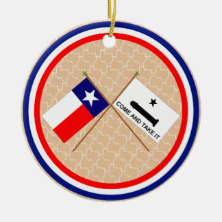 Crossed Flags of Texas and Gonzales County Christmas Ornament