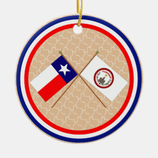 Crossed Flags of Texas and Parker County Round Ceramic Decoration