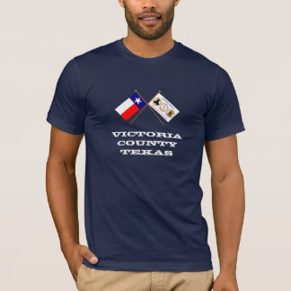 Crossed Flags of Texas and Victoria County T-Shirt