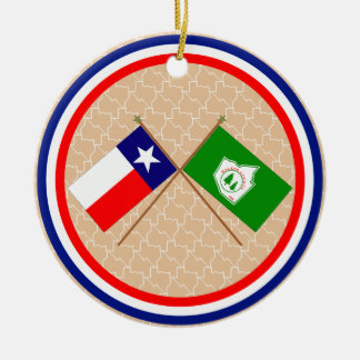 Crossed Flags of Texas and Walker County Round Ceramic Decoration