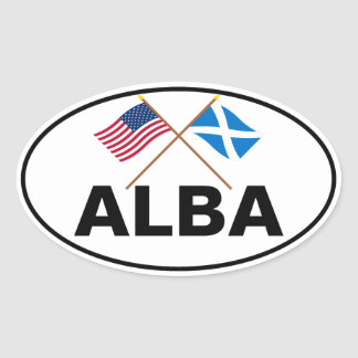 Crossed Flags of the USA and Scotland (Cross) Oval Sticker