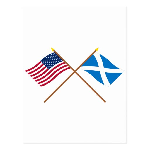 Crossed Flags of the USA and Scotland (Cross) Postcards