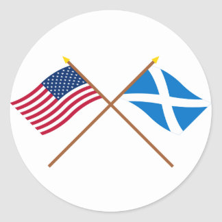 Crossed Flags of the USA and Scotland (Cross) Round Sticker