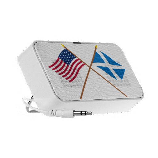 Crossed Flags of the USA and Scotland (Cross) Travelling Speaker
