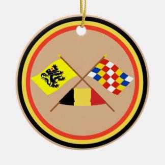Crossed Flanders and Antwerp Flags with Belgium Christmas Tree Ornaments