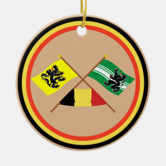 Crossed Flanders and East Flanders Flags w Belgium Round Ceramic Decoration