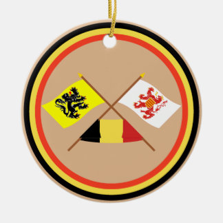 Crossed Flanders and Limbourg Flags with Belgium Christmas Tree Ornaments