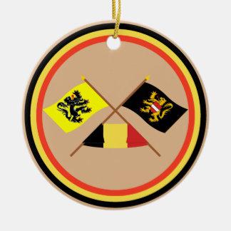 Crossed Flanders & Flemish Brabant Flags w Belgium Christmas Tree Ornaments