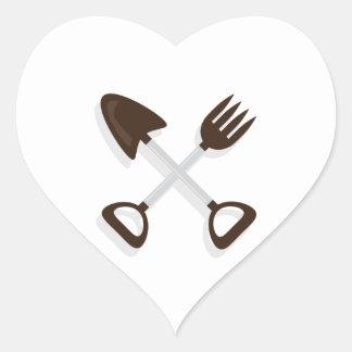 Crossed Garden Tools Heart Sticker