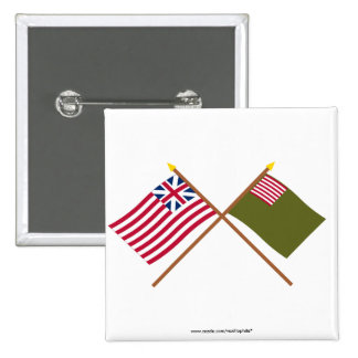 Crossed Grand Union and Delaware Militia Flags 15 Cm Square Badge