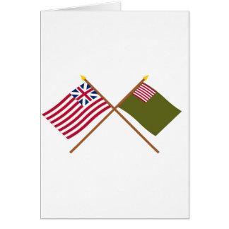 Crossed Grand Union and Delaware Militia Flags Card