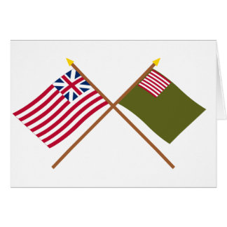 Crossed Grand Union and Delaware Militia Flags Greeting Card