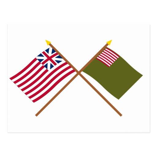 Crossed Grand Union and Delaware Militia Flags Postcards