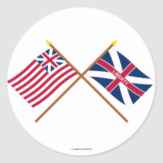 Crossed Grand Union and Fort Johnson Flags Round Stickers