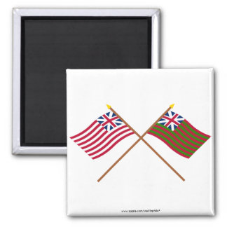 Crossed Grand Union and Grand Union Naval Flags Refrigerator Magnet