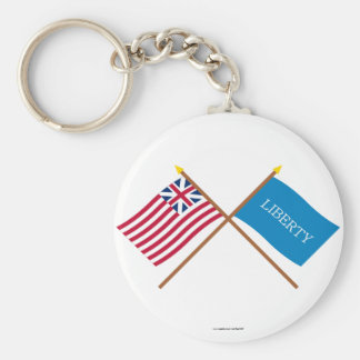 Crossed Grand Union and Schenectady Liberty Flags Keychain
