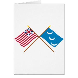 Crossed Grand Union and South Carolina Militia Fla Greeting Cards