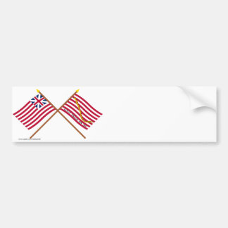 Crossed Grand Union Flag and Navy Jack Bumper Stickers