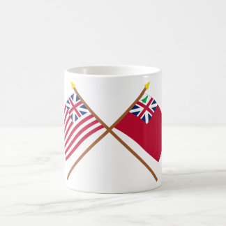 Crossed Grand Union Flag and Pine Tree Red Ensign Basic White Mug