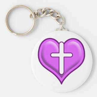 Crossed Hearts Logo Design Basic Round Button Key Ring