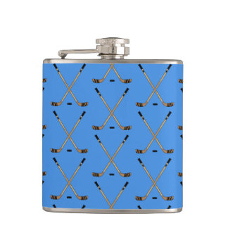 Crossed Hockey Sticks Blue Hip Flask