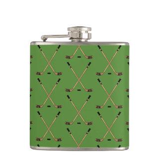 Crossed Hockey Sticks Green Hip Flask