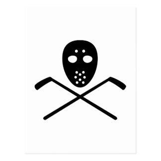 Crossed hockey sticks mask post card