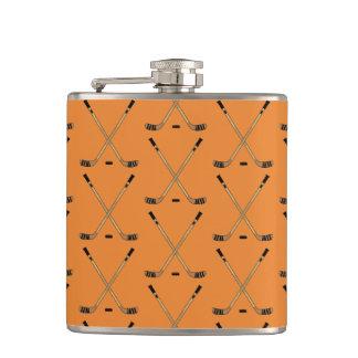 Crossed Hockey Sticks Orange Hip Flask